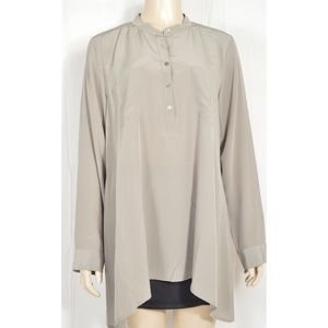Eileen Fisher top tunic shirt SZ M gray long sleev